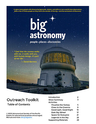 Educational Material: Outreach Toolkit for the Big Astronomy planetarium show