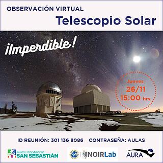 Charla sobre el sol y Observacion Virtual Solar para Aulas Hospitalarias San Sebastian