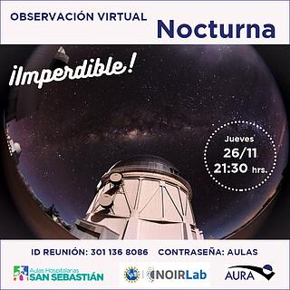 Charla y Observacion Virtual Nocturna para Aulas Hospitalarias San Sebastian