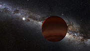 Artist's impression of a brown dwarf orbiting a white dwarf