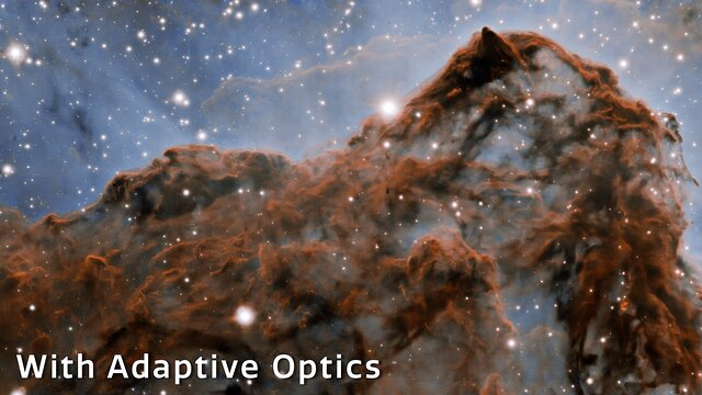 Crossfading between images done without and with adaptive optics